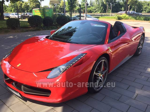 Hire and delivery to Lisbon Portela airport the car Ferrari 458 Italia Spider Cabrio Red