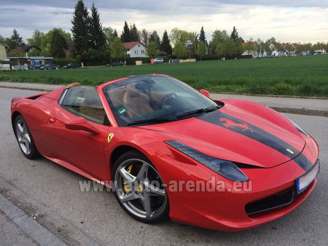 Hire and delivery to Lisbon Portela airport the car Ferrari 458 Italia Spider Cabrio
