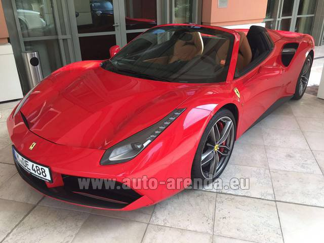 Hire and delivery to Lisbon Portela airport the car Ferrari 488 GTB Spider Cabrio