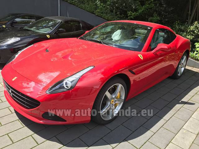 Hire and delivery to Lisbon Portela airport the car Ferrari California T Cabrio (Red)