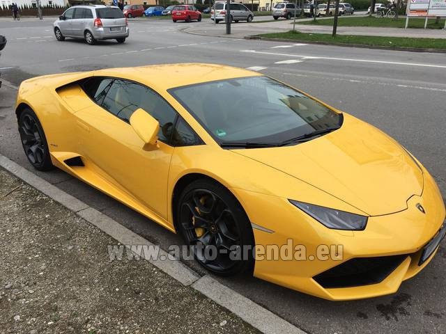 Rental Lamborghini Huracan LP 610-4 Yellow in Portimao