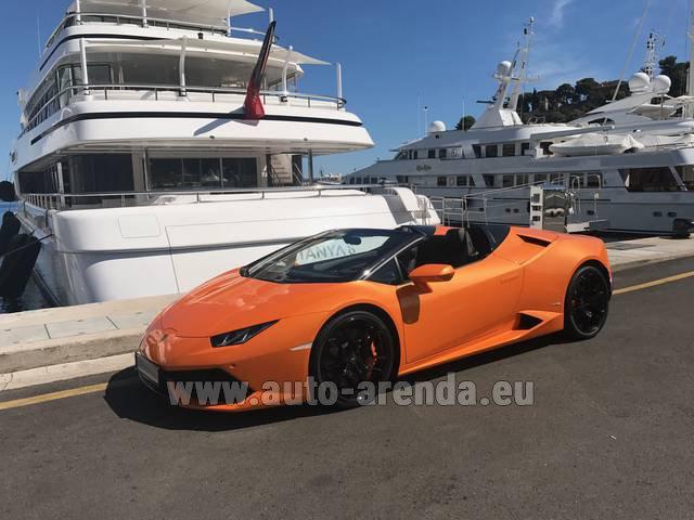 Rental Lamborghini Huracan Spyder Cabrio in Lisbon