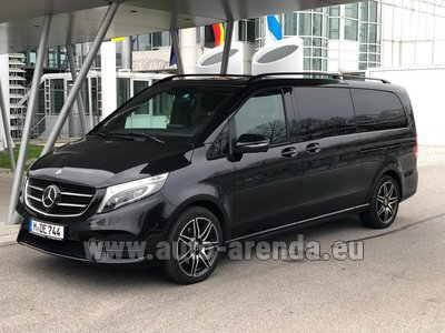 Mercedes V250 Extra Long 4MATIC AMG equipment (1+6 Pax) car for transfers from airports and cities in Germany and Europe.