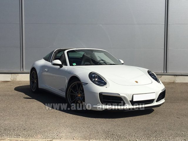 Hire and delivery to Lisbon Portela airport the car Porsche 911 Targa 4S White