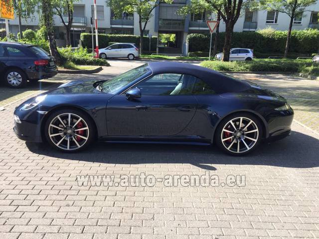 Hire and delivery to Lisbon Portela airport the car Porsche 911 Carrera 4S Cabriolet